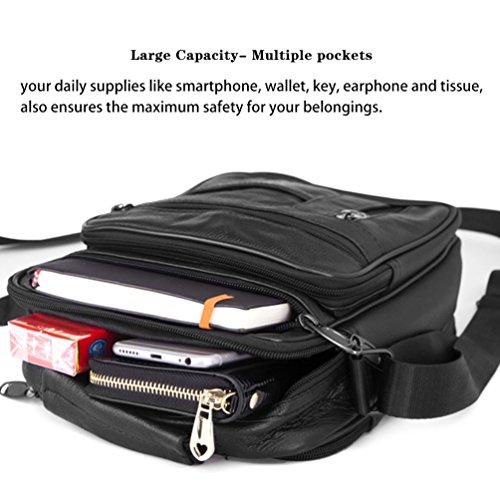 Vbiger Echtes Leder Umhängetasche Beiläufig Schultertasche Modisch Geschäft Handtasche Modische Umhängetasche für Männer Schwarz