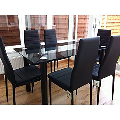[UK Stock] Cravog Tunning Glass Dining Table Set and with 6 Faux Leather Chairs, Multi Colors - cheap UK light shop.