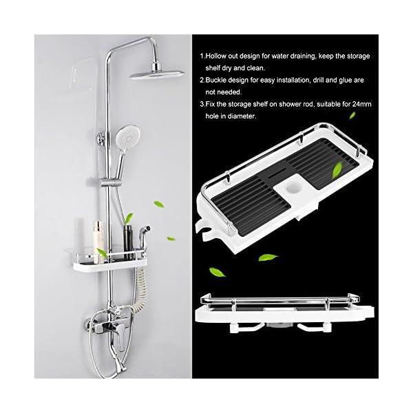 Estante de almacenamiento para barra de ducha, sin perforaciones, soporte para bandeja de baño ajustable, organizador de…