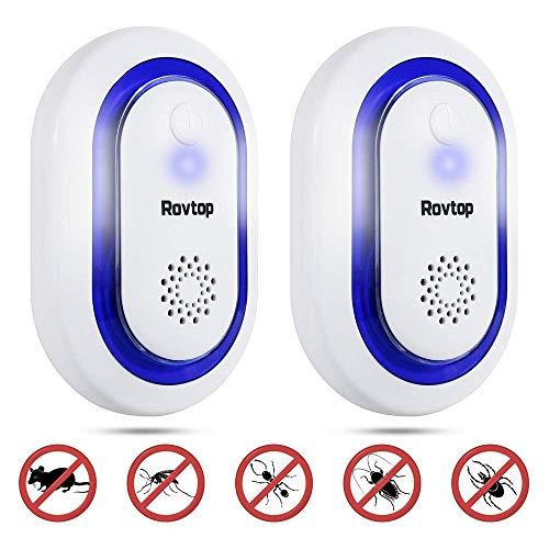 Rovtop 2 Packs Repelente Ultrasónico - Control Ultrasónico de Ratones sin Productos Químicos, Control de Plagas para Interiores, Ratas, Moscas, Roedores, Ratones para el Hogar