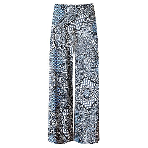 Janisramone Womens Ladies New Floral Paisley Print Trouser Wide Leg Baggy Flared Summer Pant Palazzo