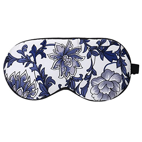 IPOTCH Verstellbare Seide Schlafmaske Schlaf Brille Augenmaske Augenbinde Schlafabdeckung - Blau