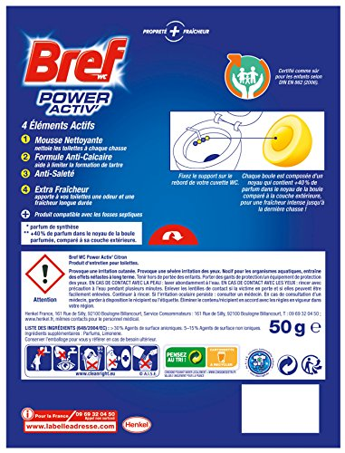 Bref WC Power Activ Citron 50 g - Blocs Nettoyants WC - Lot de 5