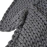 Couverture épaisse en tricot, Pingtr faite à la main au crochet en tricot d'hiver Couverture, Housse de canapé Couverture, épais en laine à tricoter Encombrants Couvre-lit pour lit, salon, décoration de yoga, Tapis, Beige, Gray, Rose (3Taille, 7couleurs pour choisir), gris foncé, 100*120cm