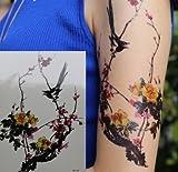 CHINESISCHE WINTERBLÜTE BLUMEN UND VOGEL MALEREI TATTOO BUNT/FARBIG Einmal Tattoo Schmuck Tattoo zum Kleben für Körper hb552 Wasserfest
