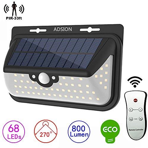 ADSION Solarleuchten LED Außen, Bewegungssensor, Wandleuchte mit 68 superhellen LEDs und Fernbedienung, spritzwassergeschützte Solar-Leuchte mit 3 Beleuchtungsmodi für den nächtlichen Einsatz