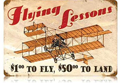 MENYRU Flying Lessons Retro Metal Signs for Wall Art Decoration 8 x 12 Inches -