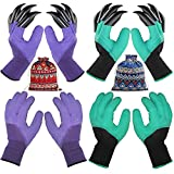 4 Pairs Garden Gloves with Fingertips Claws, Gift for Gardener,2 Pairs Working Genie Gloves with Double Claws,2 Pairs Without Claws,for Digging and Planting,Breathable. (4 Pairs Purple and Green)