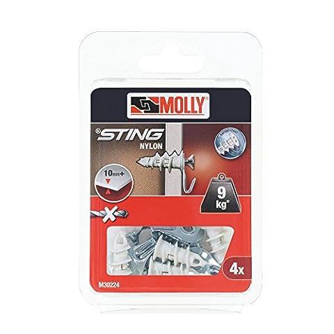 Molly M30224-XJ Sting Chevilles auto foreuses Nylon avec crochet Tableau/Vis,