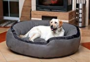 Hiputee Luxurious & Durable Polyester Filled Soft Dual Colour Dog/Cat Bed (XXL, G