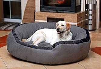 Petitude Ultra Soft Ethenic Velvet Bed for Dog and Cat, Large (Grey and Black)