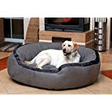 Petitude Ultra Soft Ethenic Designer Velvet Bed For Dog & Cat - Large - Gray-Black