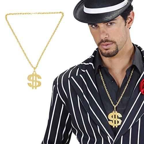 NET TOYS Goldene Dollar Kette Dollarkette gold Zuhälter Kette Pimp Halskette Prollkette Rapper Hip Hop Rapperkette Kostüm Accessoire