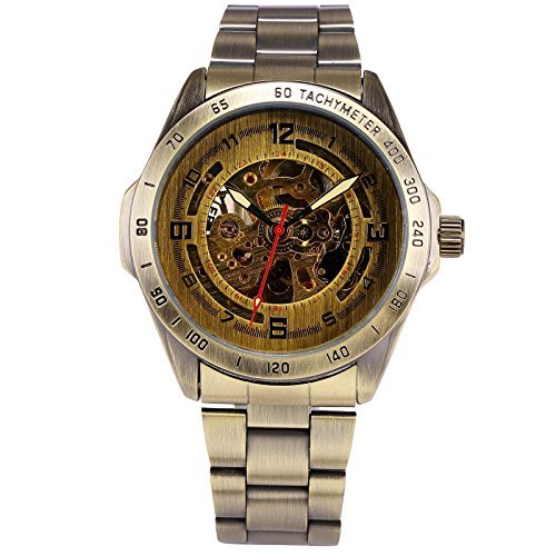 Vintage Skeleton Automatic Self Wind Mechanical Watches for Men