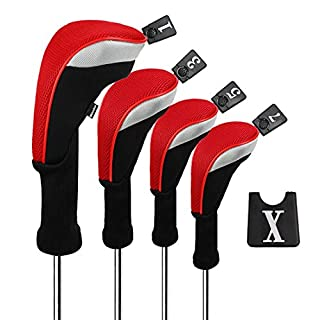 Andux Golf Driver Wood Head Covers for 460cc Driver Long Neck with Hook & Loop Pack of 4 (Red, MT/MG30)