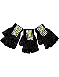 3 Pairs of Black Fingerless Magic Gloves & Palm Grip by RJM GL310 One Size