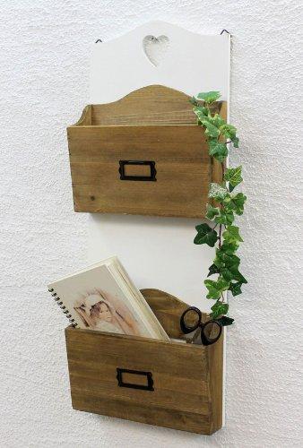 DanDiBo Wandregal Landhaus Weiß aus Holz 12028 Regal für die Wand 60 cm Vintage Shabby Chic Küchenregal Magazinhalter Zeitungshalter -