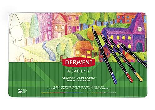 Derwent academy colouring confezione da 36 matite in scatola di metallo, multicolore