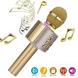 Karaoke-Mikrofon, Bluetooth, kabellos, Karaoke-Mikrofon für Kinder, paarbar für Duetten mit bunten Lichtern, Geschenk für 5 Jahre alte Jungen (Gold)
