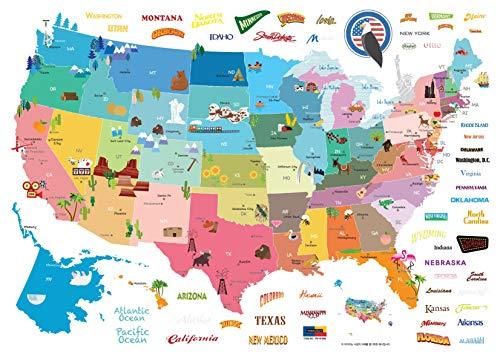 Ambiance-Live Sticker Mural Sticker Enfant Carte des Etats-Unis