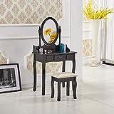 Generic Make-up-Tisch mit Hocker und Spiegel aus Holz, Schwarz