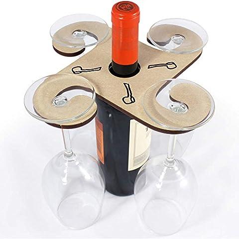 'Pipe' Wooden Wine Glass / Bottle Holder
