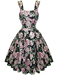 Hearts and Roses London Bezaubernd Dunkles Blumenmuster 50s Vintage Teeparty Kleid Hervorragende Qualität
