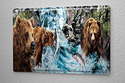 Blechschild Tierarzt Praxis Deko Lachsfang Braunbären Metallschild 20X30 cm