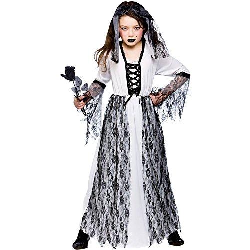 Kind Kostüm Ghost Bride - Ghostly Ghost Bride Kinderkarneval / Halloweenkostüm Größe M (5-7 Jahre EU 122-134cm)