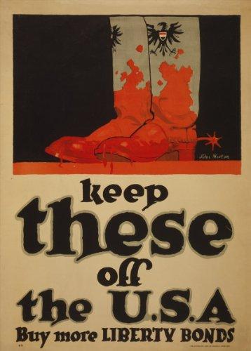 World of Art Kunstdruck/Poster, Vintage-Stil, US-Propagandaposter zum 1.Weltkrieg 1914–18, englischsprachige Aufschrift Keep these off the USA, 250g/m², glänzend, A3, Reproduktion