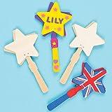Bastelset - Holz-Klapper - Stern - zum Basteln und Bemalen für Kinder ideal als Spielzeug und für Sport-Veranstaltungen - 4 Stück