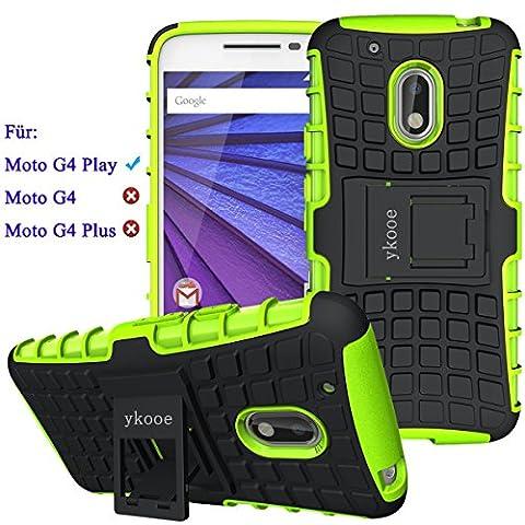 ykooe Handys Schutzhülle Ständer für Lenovo Motorola Moto G4 Play Hülle 5 Zoll(Grün)