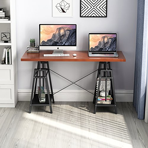 """Tribesigns Computer Desk, Rustic Look Height Adjustable Office Desk, 55"""" Large Chic Writing Study Table Workstation with 2 Open Shelves for Home Office (Teak)"""