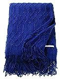 ESPRIT Weave Plaid Decke Tagesdecke Kuscheldecke Wolldecke Couchdecke Sofadecke, Polyacryl, Blau, 200 x 140 cm