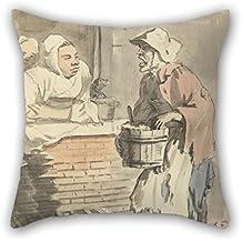 Slimmingpiggy – Pintura al óleo Paul Sandby – London Cries – «cualquier accesorio de cocina» fundas de cojín mejor para parejas, salón, sala de estudio, bar cocina BF 18 x 18 pulgadas / 45 por 45 cm (doble cara)