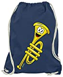 HARIZ Turnbeutel Trompete Lachend Instrument Kind Lustig Inkl. Geschenk Karte Navy Blau One Size