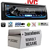 Autoradio Radio JVC KD-X151 | MP3 | USB | Android 4x50Watt - Einbauzubehör - Einbauset für Renault Megane & Scenic 1 - JUST SOUND best choice for caraudio