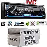 Renault Megane & Scenic 2 - Autoradio Radio JVC KD-X151 | MP3 | USB | Android 4x50Watt - Einbauzubehör - Einbauset