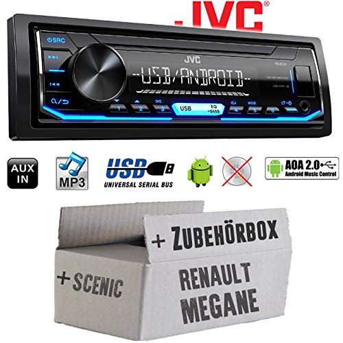 Autoradio Radio JVC KD-X151 | MP3 | USB | Android 4x50Watt - Einbauzubehör - Einbauset für Renault Megane & Scenic 2 - JUST SOUND best choice for caraudio