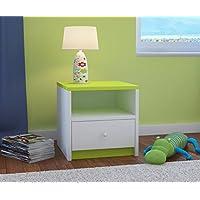 Preisvergleich für CARELLIA Nachttisch Kinder 1Schublade L: 40cm x P: 39cm x h: 30cm–Limettengrün