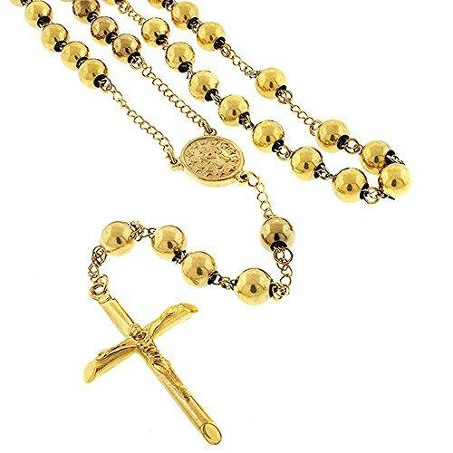 Preisvergleich Produktbild Edelstahl Damen Herren 8mm gelb gold Rosenkranz Kette Halskette 32+ 6,5von der