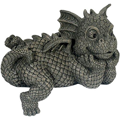 Figure de jardin Dragon regarde à droite assis sur le bord décoration