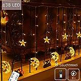 138 LED Lichtervorhang Sternenvorhang Lichterkette 8 Modi mit Fernbedienung Innen Außen Mond Sterne Vorhang Lichter Für Weihnachten,Party,Hochzeit,Garten, Balkon Deko