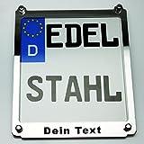 Exklusive Motorrad Kennzeichenhalter Edelstahl hochglanz poliert mit Wunschtext z.B. Name