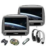"""XTRONS 2 Stück 9"""" DVD Player für Auto Bildschirm für Autositz Kopfstütze mit Leder Adeckung Windows CE System Headrest HDMI Anschluss unterstützt 32 Bits Spiele IR Transmitter FM Transmitter"""