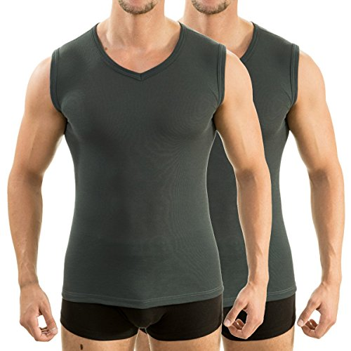 2 x 63050 Herren Athletic Vest by exclusiv HERMKO Funktionsunterhemd Muskelshirt mit V-Neck graphit