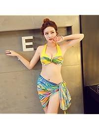 L'offre De Réduction XIAOHUAHUA Maillot 3 Pièces Blouse Bikinis Petite Poitrine D'Acier Recueillir Feuille De Lotus Couvrir Mince Ventre Populaire Pour La Vente gDzwg