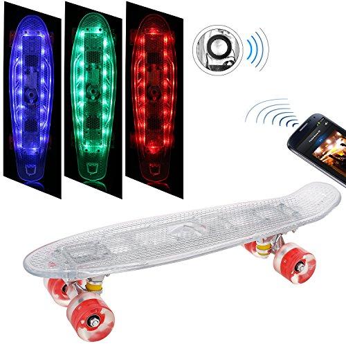 Weskate Mini Cruiser Skateboard Komplett Board 55cm mit LED Deck und LED Leuchtrollen, mit Bluetooth-Konnektivität mit USB Kabel aufzuladen, 95A Rollenhärte, 85A PU Rädern und ABEC-9 Kugellager
