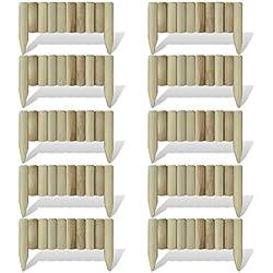 Festnight Lot de 10 pièces Bordure en Bois de pelouse Jardin Pin imprégné Clôtures décoratives Longueur: 60 cm