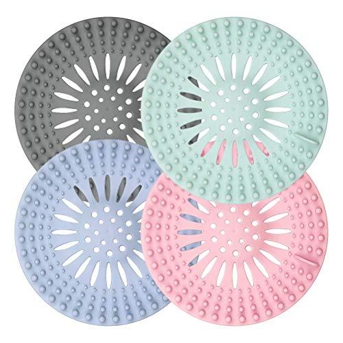 Lot de 4 couvercles de bonde de douche en silicone, filtre universel en caoutchouc pour évier de baignoire, cuisine, salle de bain